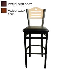 Oak Street - SL2150-1-SH-W-WINE - Shoreline Walnut Wood  Back Barstool w/Wine Vinyl Seat image