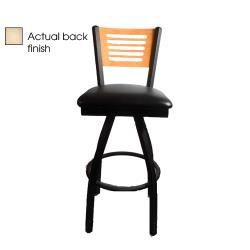 Oak Street - SL2150-1S-5-N-BLK - 5-Line Natural Wood Back Swivel Barstool w/Black Vinyl Seat image