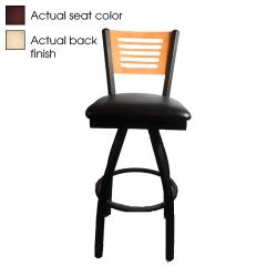 Oak Street - SL2150-1S-5-N-WINE - 5-Line Natural Wood Back Swivel Barstool w/Wine  Vinyl Seat image