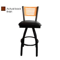 Oak Street - SL2150-1S-5-W-BLK - 5-Line Walnut Wood  Back Swivel Barstool w/Black Vinyl Seat image
