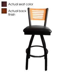 Oak Street - SL2150-1S-5-W-WINE - 5-Line Walnut Wood  Back Swivel Barstool w/Wine Vinyl Seat image