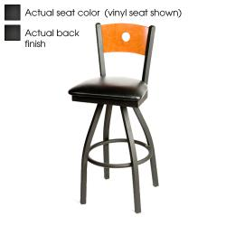 Oak Street - SL2150-1S-B-B - Bullseye Black Wood Back & Seat Swivel Barstool image