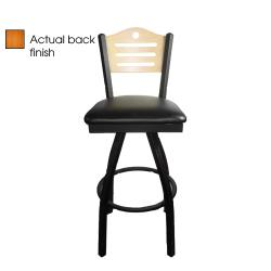 Oak Street - SL2150-1S-SH-C-BLK - Shoreline Cherry Wood Back Swivel Barstool w/Black Vinyl Seat image