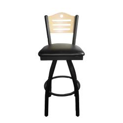 Oak Street - SL2150-1S-SH-N-BLK - Shoreline Natural Wood Back Swivel Barstool w/Black Vinyl Seat image