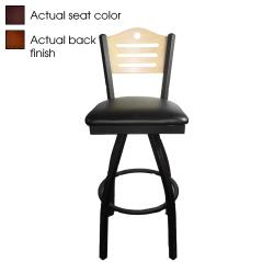 Oak Street - SL2150-1S-SH-W-BLK - Shoreline Walnut Wood  Back Swivel Barstool w/Black Vinyl Seat image