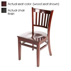 Oak Street - WC102-B-WINE - Verticalback Black Wood Chair w/Wine Vinyl Seat image