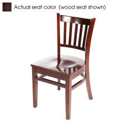 Oak Street - WC102-M-WINE - Verticalback Mahogany Wood Chair w/Wine Vinyl Seat image