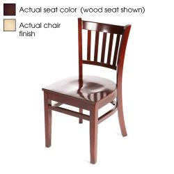 Oak Street - WC102-N-WINE - Verticalback Natural Wood Chair w/Wine Vinyl Seat image
