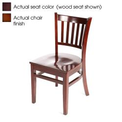 Oak Street - WC102-W-WINE - Verticalback Walnut Wood Chair w/Wine Vinyl Seat image