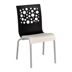 Grosfillex - US021017 - Black/White Tempo Sidechair - 4 Pack image