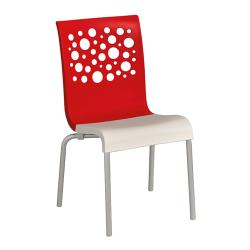 Grosfillex - US021414 - Red/White Tempo Sidechair - 4 Pack image