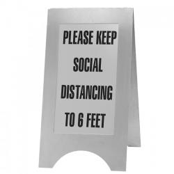 Cal-Mil - 852-55SD - Stainless Steel Freestanding Social Distancing Sign image