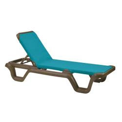 Grosfillex - 99424137 - Marina Turquoise Sling Chaise Lounge image