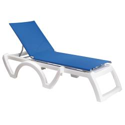 Grosfillex - US476006 - Blue/White Calypso Sling Chaise- 12 Pack image