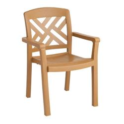 Grosfillex - 45451408 - Teakwood Sanibel Dining Armchair - 12 Pack image