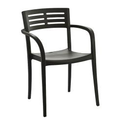 Grosfillex - US633002 - Charcoal Vogue Outdoor Stacking Armchair - 4 Pack image