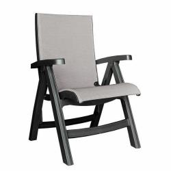 Grosfillex - US355002 - Gray / Charcoal Belize Midback Folding Sling Chair image