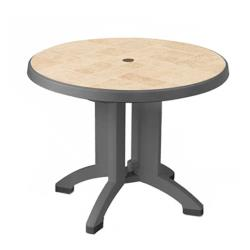 Grosfillex - US700002 - 38 in Round Charcoal Siena Table image