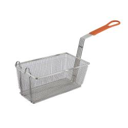Winco - FB-10 - 12 1/8 in x 6 1/2 in x 5 3/8 in Fry Basket with Orange Handle image