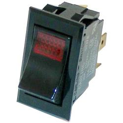 Commercial - SPST On/Off 3 Tab Red Lighted Rocker Switch image