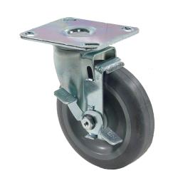 Commercial - Extra Heavy Duty Large Swivel Plate Caster W/ 5 in Wheel and Brake image