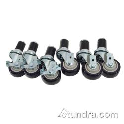 "Commercial - 1 5/8"" Expanding Stem Caster Set of 6 w/ 3"" Wheels image"
