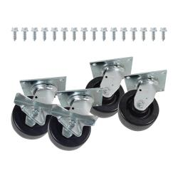 "Commercial - 2600lb Load Capacity Swivel Plate Caster Set w/ 5"" Wheels image"