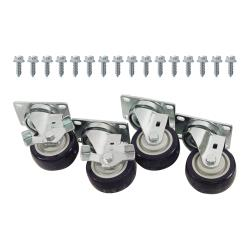 Commercial - Heavy Duty Swivel Plate Caster Set with  3 in Wheels image