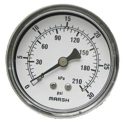 Commercial - 0 - 30 PSI Dual Scale Pressure Gauge image