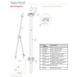 Tuuci - Yogurtland 5.5 ft Square Umbrella Parts image