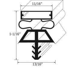 Allpoints Select - 741444 - 77 1/2 in x 36 1/2 in 3-Sided Left Door Gasket image