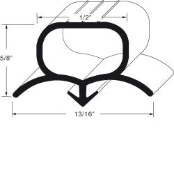 "Beverage Air - 712-024D-07 - 9"" x 48"" Door Gasket image"