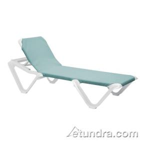 Grosfillex 99101550 nautical spa blue white chaise for Blue mesh chaise lounge
