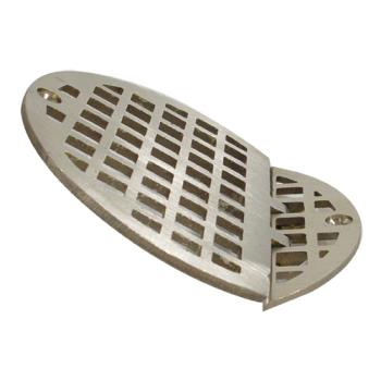 "11497 - FMP - 102-1152 - Hinged 4 5/8"" Round Brass Floor Drain Strainer Product Image"