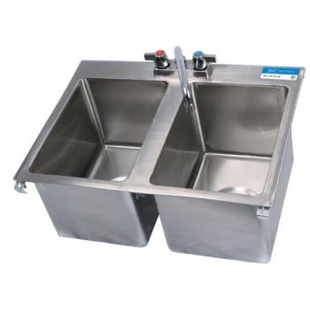 99253 - BK Resources - BK-DIS-1014-2 - 10 in x 14 in x 10 in Two Compartment Sink Product Image