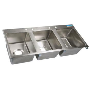 99257 - BK Resources - BK-DIS-1620-3 - 16 in x 20 in x 12 in Three Compartment Sink Product Image