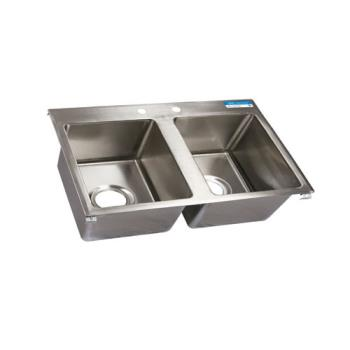 99254 - BK Resources - BK-DIS-2016-2 - 20 in x 16 in x 12 in Two Compartment Sink Product Image
