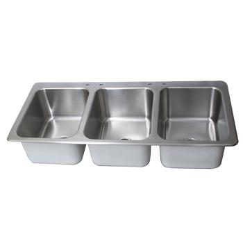 BKIDDI3162012224 - BK Resources - DDI3-162012224 - 16 in x 20 in x 12 in Three Compartment Drop-In Sink Product Image