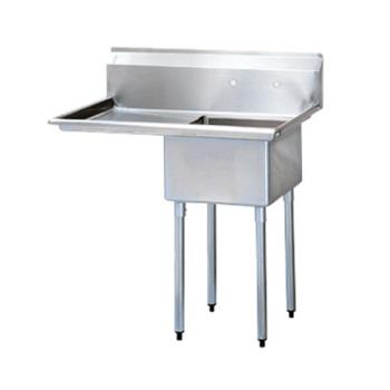TURTSA114L2 - Turbo Air - TSA-1-14-L2 - 44 1/4 in One Compartment Sink w/ 24 in Left Drainboard Product Image
