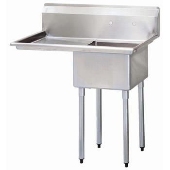 TURTSA1L1 - Turbo Air - TSA-1-L1 - 40 in One Compartment Sink w/ 18 in Left Drainboard Product Image