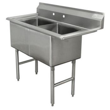 ADVFC21620X - Advance Tabco - FC-2-1620-X - 16 in x 20 in x 14 in 2 Compartment Sink w/ No Drainboards Product Image