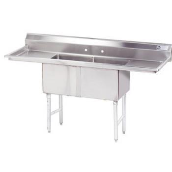 ADVFC2181824RLX - Advance Tabco - FC-2-1818-24RL-X - 18 in x 18 in x 14 in 2-Compartment Sink w/ Left and Right Drainboards Product Image