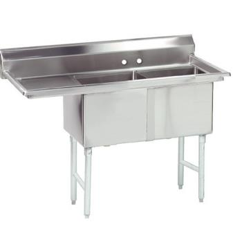 ADVFC2242424LX - Advance Tabco - FC-2-2424-24L-X - 24 in x 24 in x 14 in 2 Compartment Sink w/ Left Drainboard Product Image