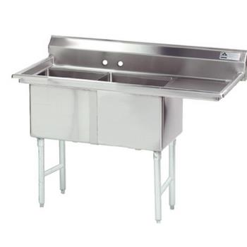 ADVFC2242424RX - Advance Tabco - FC-2-2424-24R-X - 24 in x 24 in x 14 in 2 Compartment Sink w/ Right Drainboard Product Image