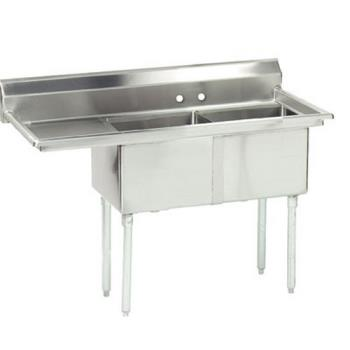 ADVFE2162018LX - Advance Tabco - FE-2-1620-18L-X - 16 in x 20 in x 12 in 2 Compartment Sink w/ Left Drainboard Product Image