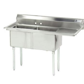 ADVFE2162018RX - Advance Tabco - FE-2-1620-18R-X - 16 in x 20 in x 12 in 2 Compartment Sink w/ Right Drainboard Product Image