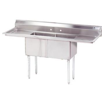 ADVFE2181218RLX - Advance Tabco - FE-2-1812-18RL-X - 18 in x 18 in x 12 in 2-Compartment Sink w/ Left and Right Drainboards Product Image