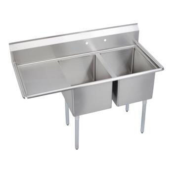ELK142C24X24L24X - Elkay - 14-2C24X24-L-24X - 76 1/2 in Two Compartment Sink w/ Left Drainboard Product Image
