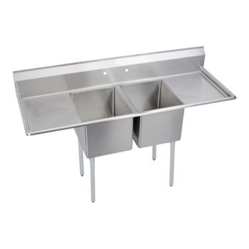 ELK2C24X24224X - Elkay SSP - 2C24X24-2-24X - Standard 98 in Two Compartment Sink With Left And Right 24 in Drainboards Product Image