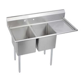 ELK2C24X24R24X - Elkay - 2C24X24-R-24X - 76 1/2 in Two Compartment Sink w/ Right Drainboard Product Image
